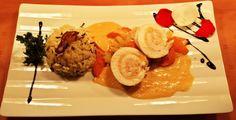 Edelfischroulade auf Hummersauce und Rieslingschaum an Wildreisduo mit Fenchel-Karottengemüse