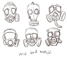 gas mask girl drawing - Google Search: