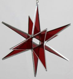 12 Point Red Stained Glass Moravian Star by glassartbyjoe on Etsy