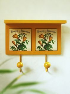 Buy Cream Yellow Botanical Double Hook Shelf • Art & Light