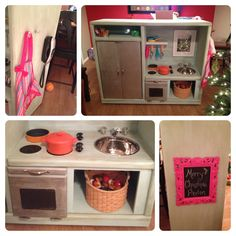 Repurposed entertainment center into a Play kitchen