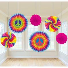 60s Retro Paper Fan Dangling Decorations (6)