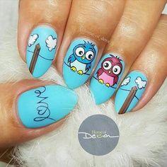 Funky Nail Art, Nail Art Set, Cute Nail Art, Owl Nail Designs, Girls Nail Designs, Acrylic Nails Coffin Glitter, Pointy Nails, Owl Nails, Minion Nails