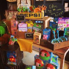 Adorable children's store display idea, using vintage items incorporated