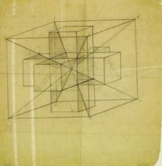 Tesseract in cube with intersecting lines and colour specifications. 1924.  Pencil on transparent pape