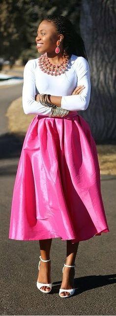 Bright pink skirt