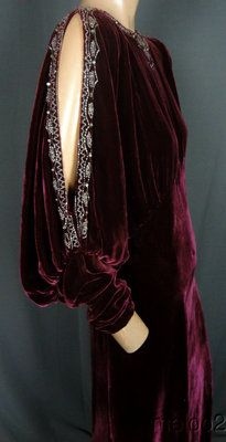 Deco Diva 30s Beaded Merlot Silk Velvet Gown w Split Sleeves Jewels LG | eBay