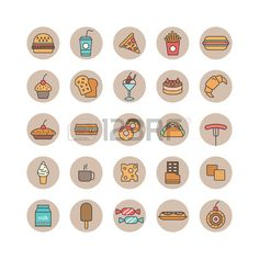Set of food and beverages icons Stock Vector