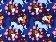 Exklusiv Baumwolljersey, Bibi & Tina Flower, dunkelblau - für Mädchen - im Online-Shop günstig kaufen