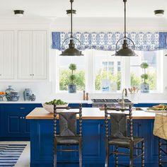 Coastal Living Idea House 2017, Mark D. Sikes, Blue and White Kitchen