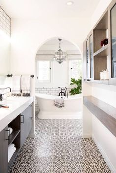 Entrance to family bathroom with double sinks, but without arch, keep frame square.