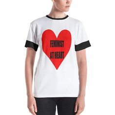 140087711cd Feminist Red Heart Social Motivation Message Future is Female Black and  White Women s T-shirt