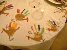 Cute Thanksgiving tablecloth tradition for kids. by priscilla
