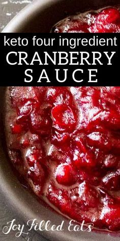 Keto-Friendly Sugar Free Cranberry Sauce with only four ingredients. Five min of prep & the smell of cranberries cinnamon & vanilla will fill your house. Low Carb THM FP Keto-Friendly Sugar Free Cranberry Sauce with only fou Keto Recipes, Cooking Recipes, Healthy Recipes, Dinner Recipes, Healthy Dishes, Shrimp Recipes, Cooking Ideas, Healthy Food, Dessert Recipes