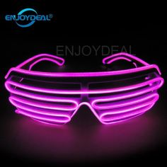 From Enjoydeal El Wire Neon Led Light Up Shutter Shaped Glasses For Rave Costume Party With Battery Case Controller (pink) Led Costume, Rave Costumes, Halloween Costumes, Neon Led, Rave Gear, Novelty Lighting, Rave Festival, Neon Party, Birthday Party Decorations