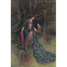 Works of Geoffrey Chaucer 1912 Canacee & the falcon Canvas Art - Warwick Goble (24 x 36)