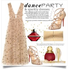 Dance Party by conch-lady on Polyvore featuring moda, Valentino, Christian Louboutin, Nina Ricci, Guerlain, Christian Dior, danceparty and sparklydresses