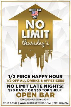 No Limit Thursdays: Post-Finals Celebration RSVP for 1/2 price drinks, shots and appetizers 6-9pm this Thursday, May 21st.