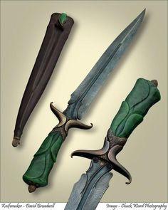 Freeform art dagger with custom damascus billet, British Columbian nephrite jade, cast bronze and leather.