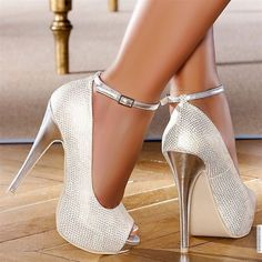 Silvery White Peep Toe Strap Stiletto Heel Pumps