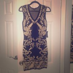 Black And Gold Fitted Dress