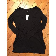 """Banana Republic Black Longsleeve V Neck Never been worn! Brand new and no flaws! I have freakishly long arms and the sleeves were too short. The back of the shirt has a center seam down the spine and the back is about 2"""" longer than the front (intentionally). Somewhat sheer too. Banana Republic Tops"""