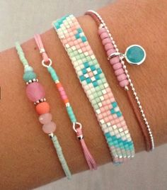 .Neat idea to do different types of bracelets in same color scheme