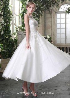 CompriElegante Tulle Bateau scollatura Caviglia-lunghezza una linea di abiti da sposa di sconto sul Dressilyme.com