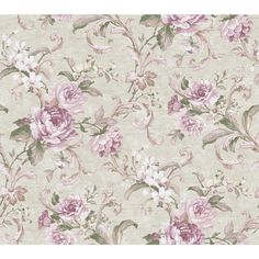Luminous Lavender Floral Swirl Wallpaper