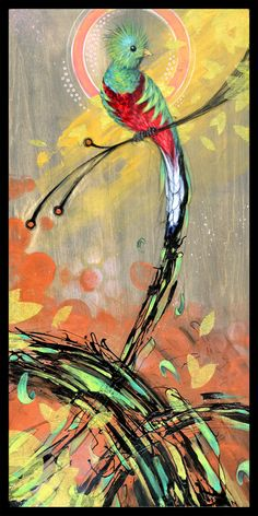 Waterfall Feathers Quetzal Bird Art Print by BlackInkArtz on Etsy, $12.00