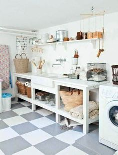 A laundry room should be one of the most workable rooms in your home. Whether you are building a new home or remodeling, there are some specifications and dimensions that you should keep in mind as you design your laundry room. Basement Laundry, Laundry Room Organization, Basement Flooring, Laundry Room Design, Basement Remodeling, Flooring Ideas, Laundry Rooms, Laundry Area, Garage Laundry
