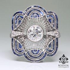 Antique Art Deco Platinum 1.33ctw. Diamond & Sapphire Ring (With Gia Report)