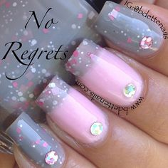 INK361 - Photo taken by Bernadette-----pink and gray nails-------pinned by Annacabella