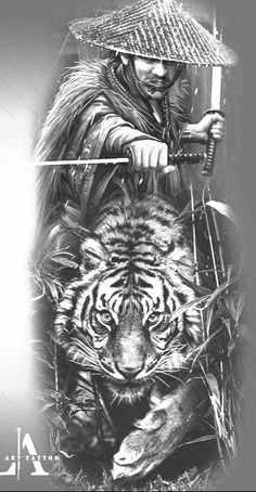 Japanese Tattoos For Men, Japanese Tattoo Art, Japanese Tattoo Designs, Full Arm Tattoos, Half Sleeve Tattoos Designs, Samurai Warrior Tattoo, Tiger Artwork, Wolf Tattoo Sleeve, Samurai Artwork