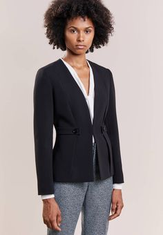 "MAX&Co. Our model's height:Our model is "" tall and is wearing size Pattern:plain. Care instructions:Dry clean only. Casual Party, Casual Chic, Black Blazers, Women's Blazers, Fashion Over 50, Women's Fashion, Max Co, Black Women Fashion, Street Style Women"