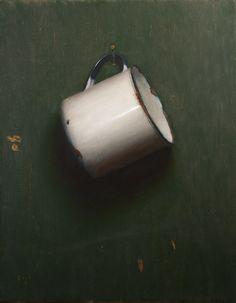 'Enamel Cup' (2013) by American artist Jonathan Koch (b.1971). Oil on linen, 11 x 14 in. via the artist's site