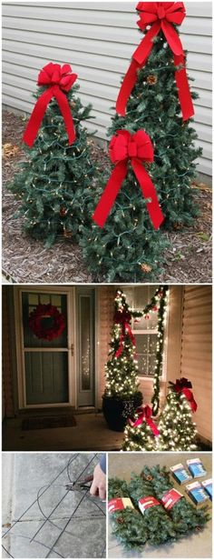tiered tomato cage christmas trees - Lowes Christmas Decorations For The Yard