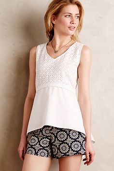 love the eyelit.  love the peplum.  love the cut.  and the patterned shorts. Eyelet Poplin Blouse #anthropologie