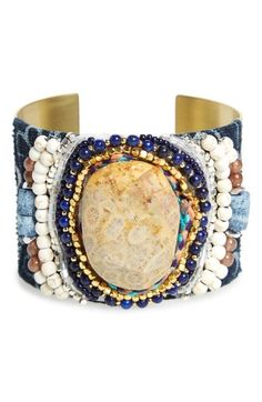 Free shipping and returns on Nakamol Design Semiprecious Stone Metal Cuff at Nordstrom.com. A work of wearable art, this beautifully intricate wrist cuff is ornamented with a mosaic of sparkling beads, semiprecious stones and woven-textile accents.