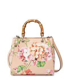 V2R7H Gucci Bamboo Shopper Mini Blooms Crossbody Bag, Nude