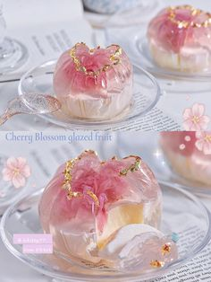 Springtime only 🌸, Freaking beautiful ❗️ super sweet Pink cherry blossoms, tender and chewy & elastic crystal clear custard.