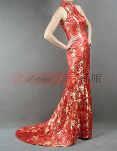 rosso e oro abito senza spalle