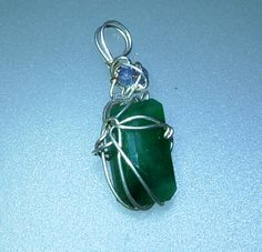 Emerald Tanzanite Pendant 5.90ct Sterling Silver & 18kt Yellow Gold Wire Wrapped Handmade by Gemsbygigialonia on Etsy