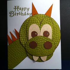 Happy Birthday card, in fire-breathing dragon green