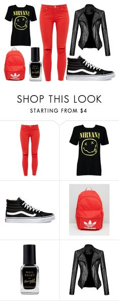 """Nirvana again and Red"" by thisisalle on Polyvore featuring Ted Baker, Boohoo, Vans, adidas and Barry M"