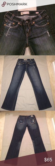 "MEK jeans Dark blue soft denim jeans, faded in front and around back pockets. (5 pockets) rips on top and back label. Inseam 30"" long. Worn a few times but in excellent condition. MEK Jeans Boot Cut"