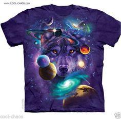 Purple Space Stars Galaxy Wolf T-Shirt / Purple Tie Dye TShirt