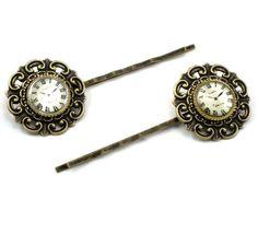 Paris and Back Again - GORGEOUS Steampunk Gothic Lolita Clock Cameo Hair Barrettes in Antiqued Brass - GhostLove SIGNATURE Design