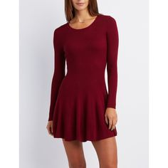 Charlotte Russe Ribbed Scoop Neck Skater Dress ($33) ❤ liked on Polyvore featuring dresses, wine, knit skater dress, red dress, wine dress, long sleeve fit and flare dress and long sleeve dress