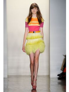 Peter Som does the color-blocking trend with a bit of a neon splash. (marieclaire.com) ^SS